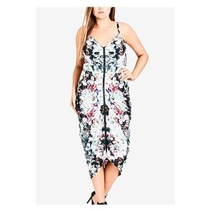 City Chic Floral Zip Front Bodycon Ruched Dress